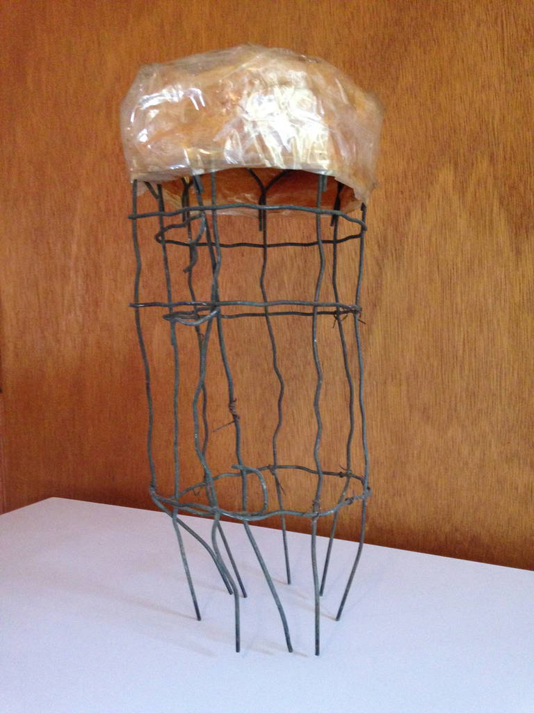 Folk Art Untitled Wire Sculpture Stool by Susan Eisler For Sale
