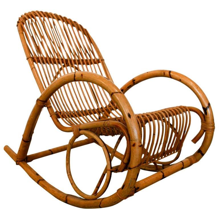 Mid Century Italian Rattan Rocking Chair by Franco Albini