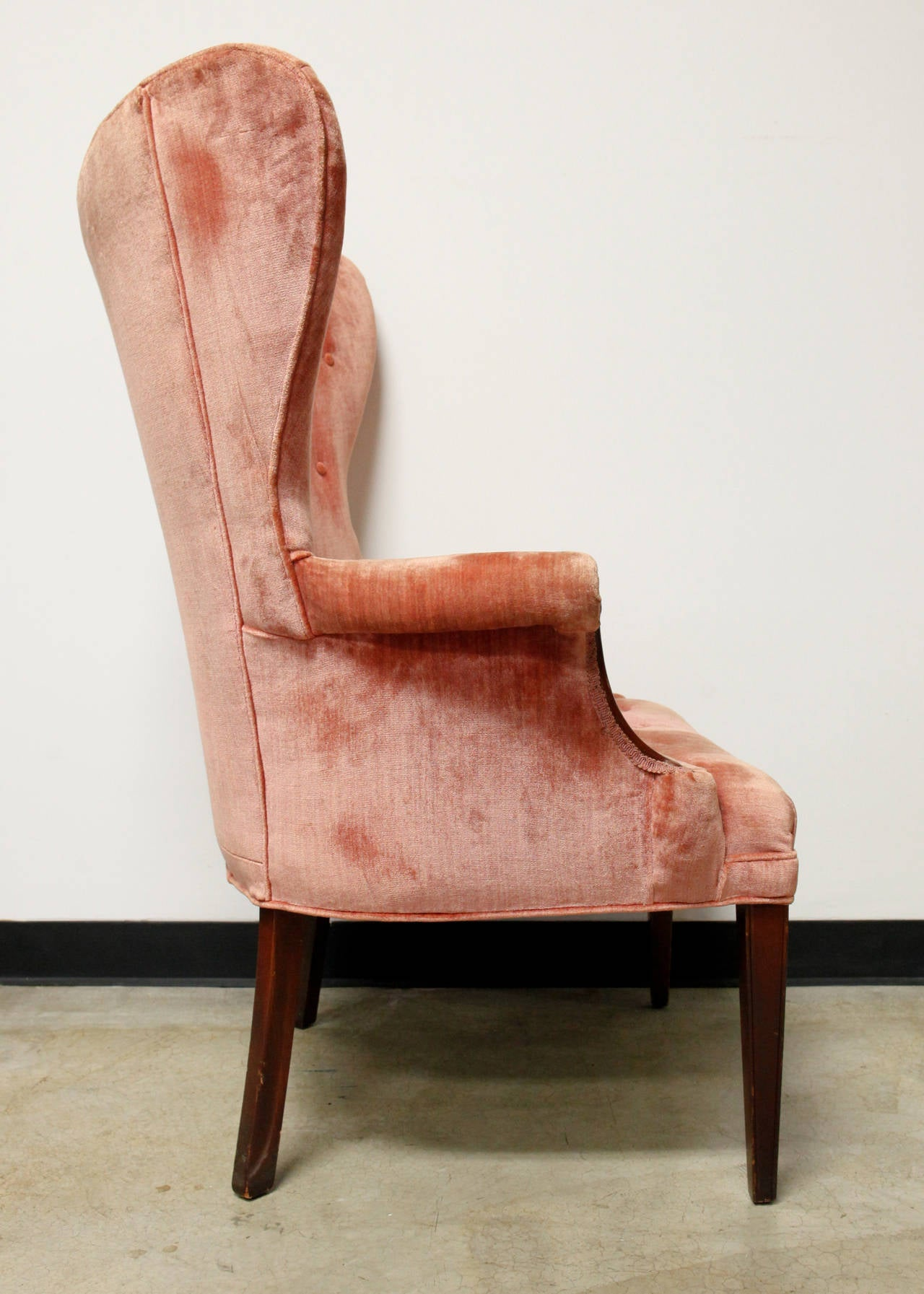 This mid century tufted club chairs is no longer available - Pair Of Dramatic Button Tufted Mid Century Wingback Chairs 3