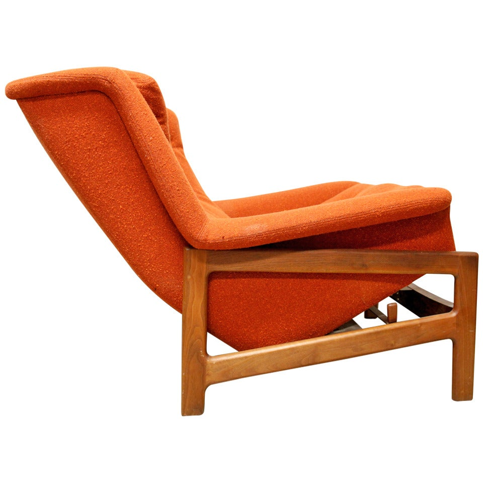 dramatic mid century lounge chair and ottoman reclining at 1stdibs. Black Bedroom Furniture Sets. Home Design Ideas