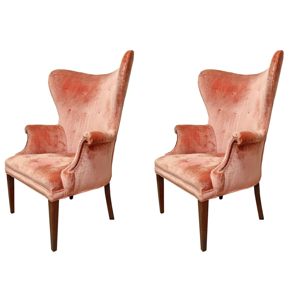 This mid century tufted club chairs is no longer available - Pair Of Dramatic Button Tufted Mid Century Wingback Chairs 1