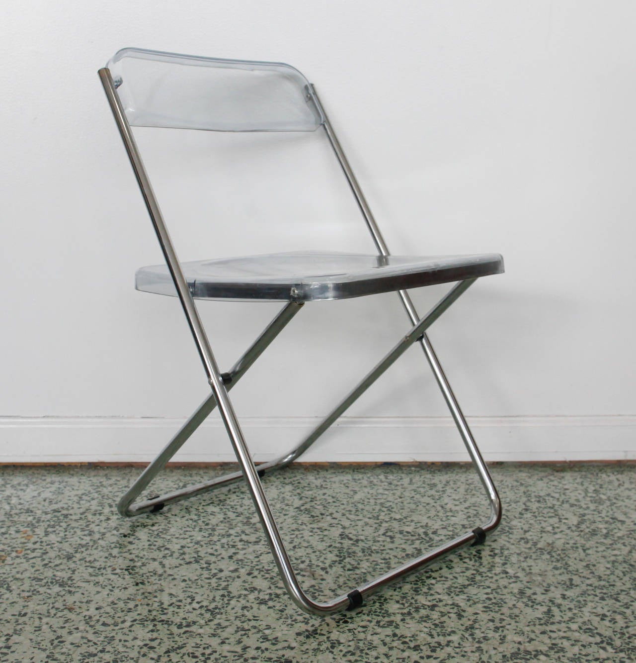 Six Folding Vintage Transparent Lucite Chrome Italian Chairs by Cattaneo at 1