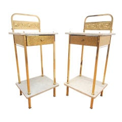 Italian Marble and Brass Tall End Tables Gilt Detail Pair
