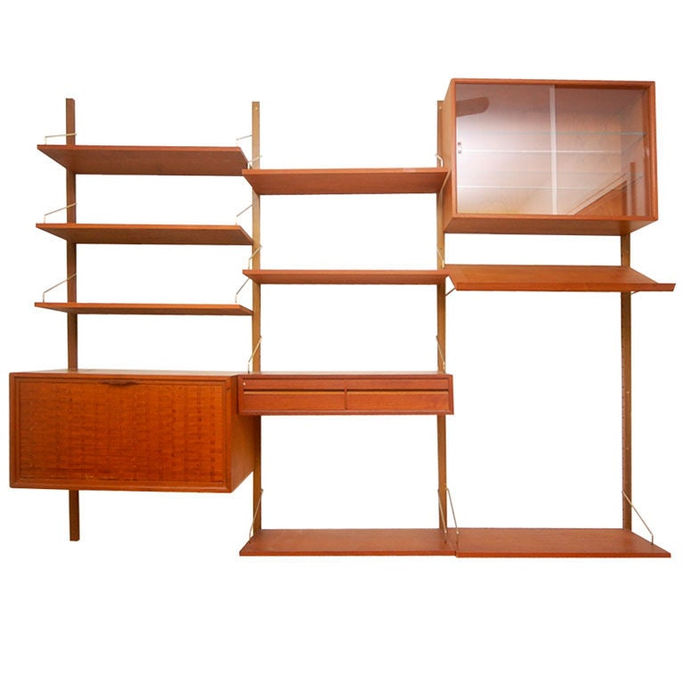 Teak Danish Modern Wall Shelf Unit Bookshelf by Poul Cadovius at ...