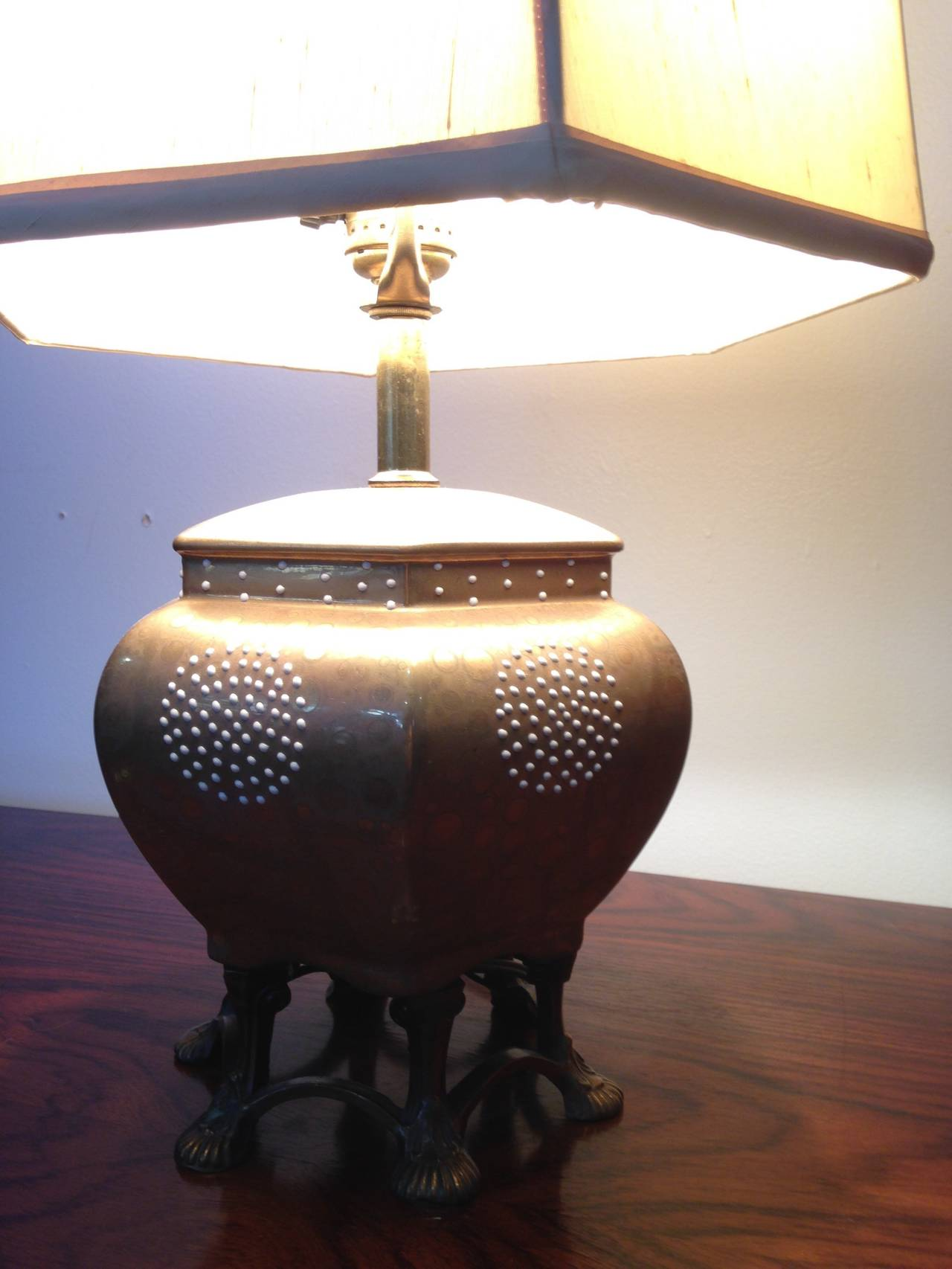 Mid Century Brass And Ceramic Claw Foot Regency Lamp At