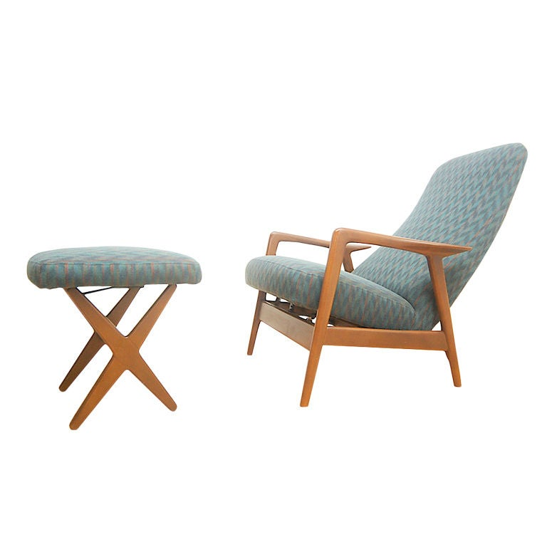 Selig Danish Modern Lounge Chair Relicner and X Base Ottoman at 1stdibs