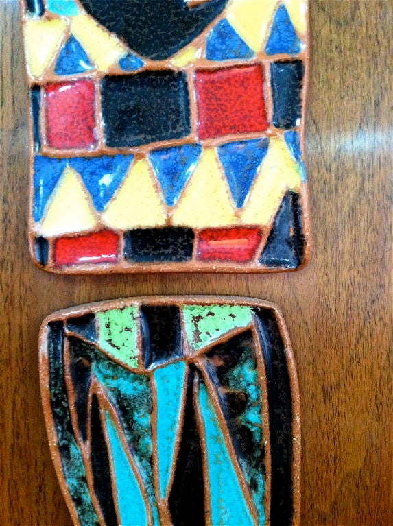 Pair Of Harris Strong Terra Cotta Ceramic Tile Reliefs