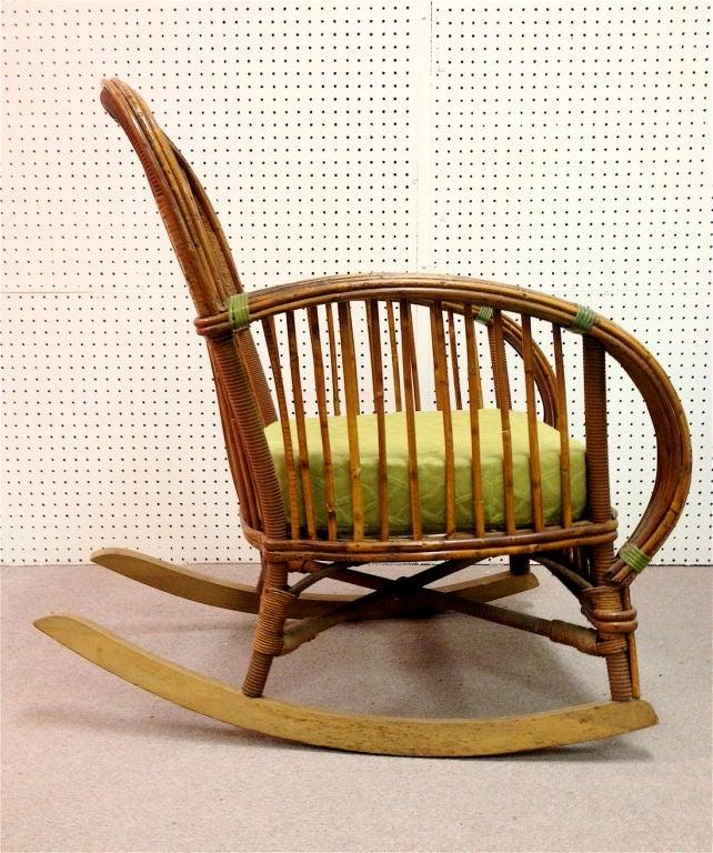 Art Deco Split Reed Wicker Rocking Chair At 1stdibs