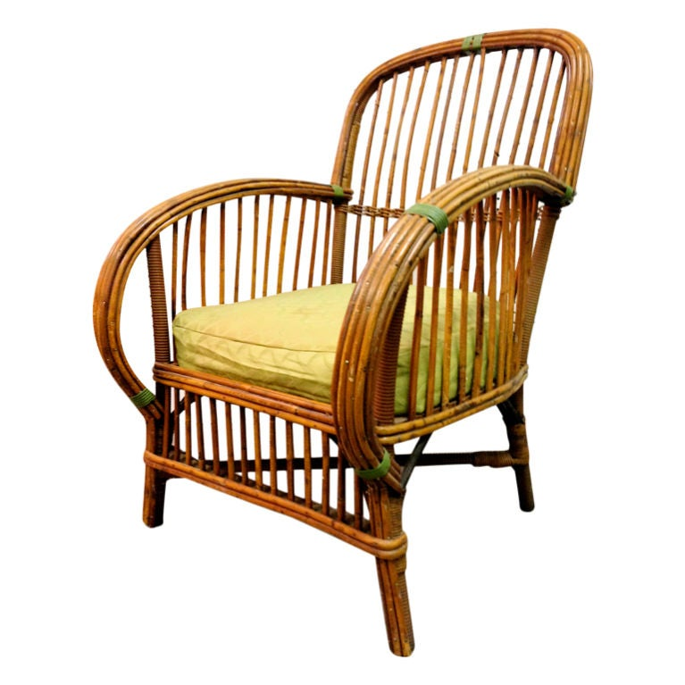 Art deco split reed wicker lounge chair at 1stdibs for Wicker reed