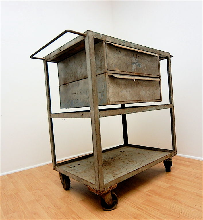 Vintage Kitchen Island Industrial Moving Rolling Cart: Industrial Vintage Mid-Century Rolling Cart Trolley Table
