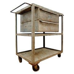 Industrial Vintage Mid-Century Rolling Cart Trolley Table