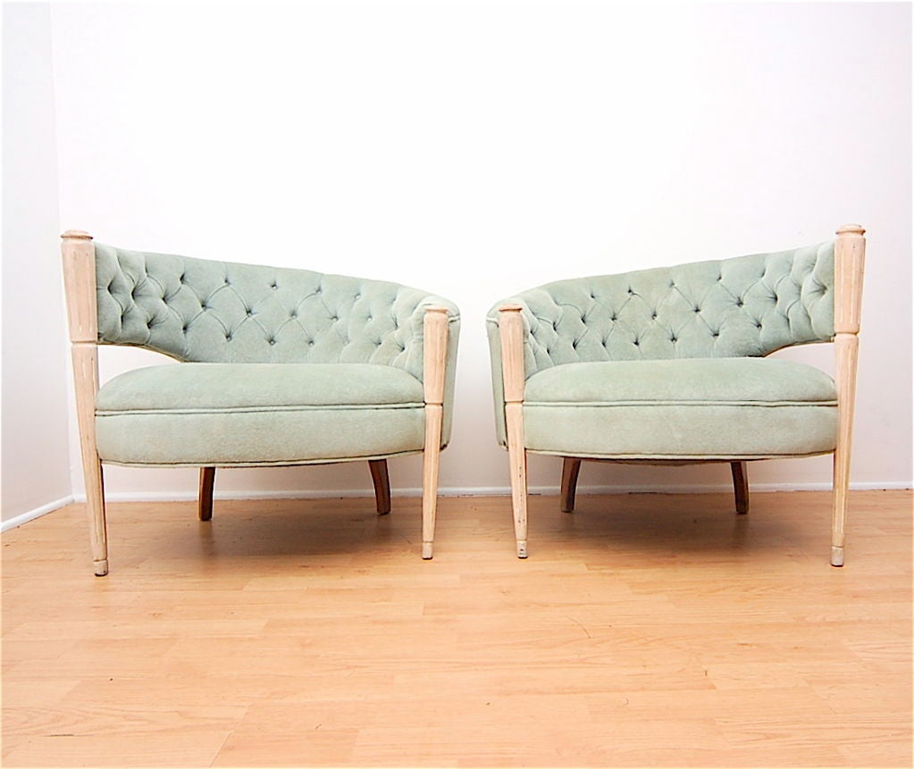 Pair Asymmetrical Hollywood Glamour Regency Lounge Chairs At 1stdibs