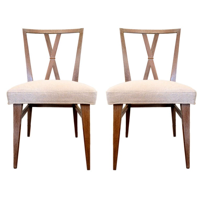 two x back dining chairs by tommi parzinger with knoll fabric at