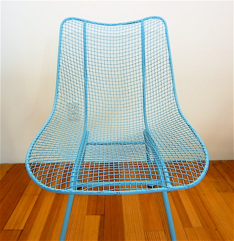 4 Russell Woodard Turquoise Mesh Chairs At 1stdibs