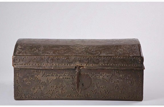 18th Century Colonial Leather Trunk image 2