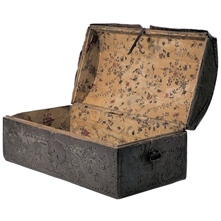18th Century Colonial Leather Trunk