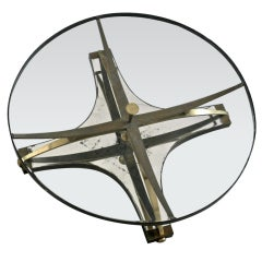 Arturo Pani  Circular Brass Cocktail Table