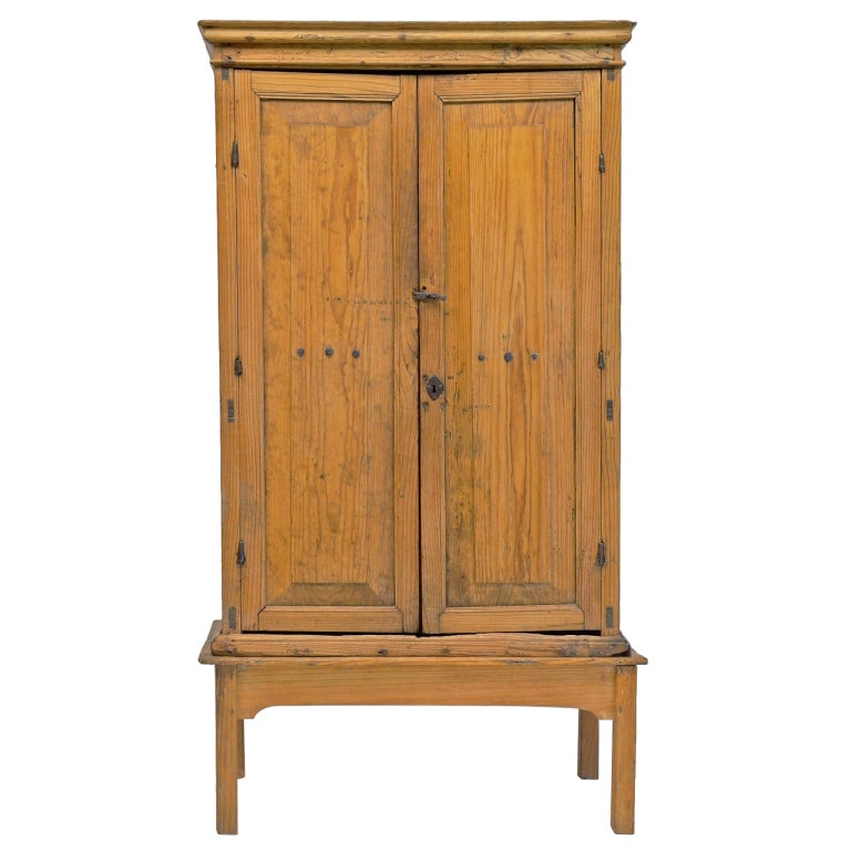 Mexican Colonial Tall Pine Cabinet At 1stdibs