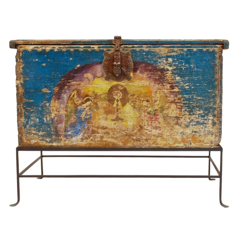 Very Rare Mexican Baroque Painted Chest At 1stdibs
