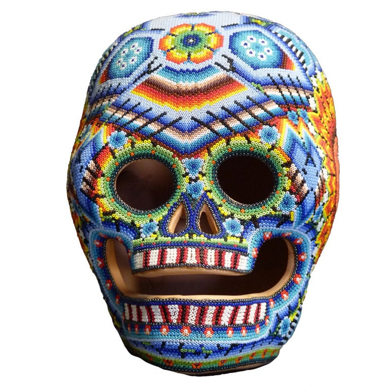 Hulchol Beaded Clay Skull At 1stdibs