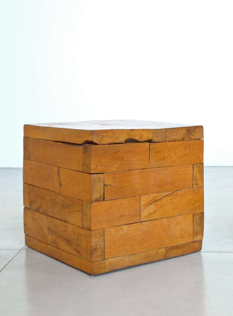 Pair of mexican mesquite wood cube tables at 1stdibs Wooden cube furniture