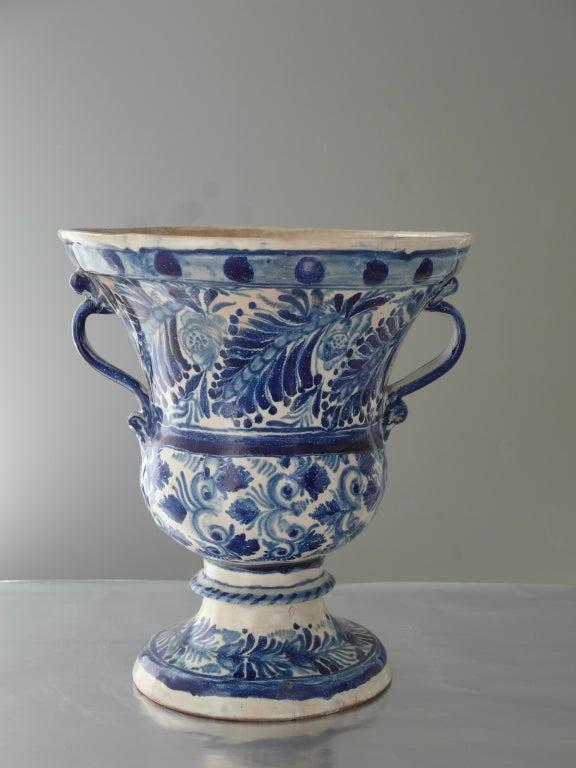 Rare Blue And White Talavara Flower Pot At 1stdibs