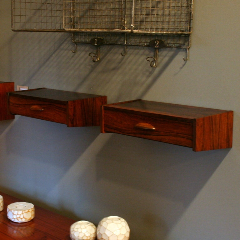 vintage rosewood wall mount side tables at 1stdibs