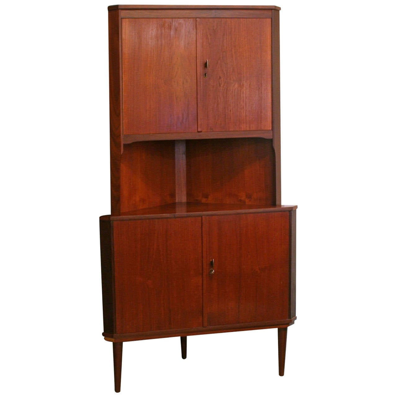 Vintage danish teak corner cabinet at 1stdibs for Corner cabinet