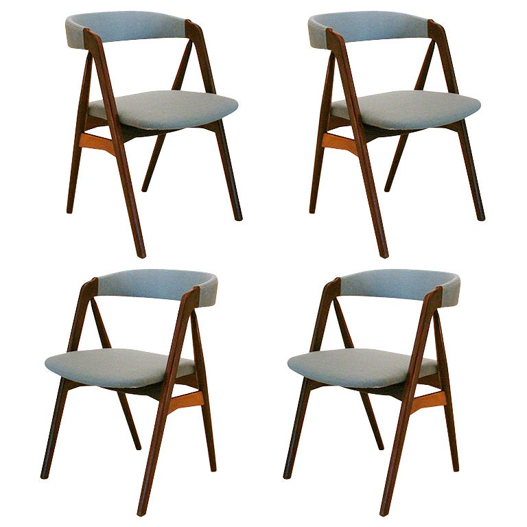 Vintage teak dining chairs by kai kristiansen at 1stdibs - Kai kristiansen chairs ...
