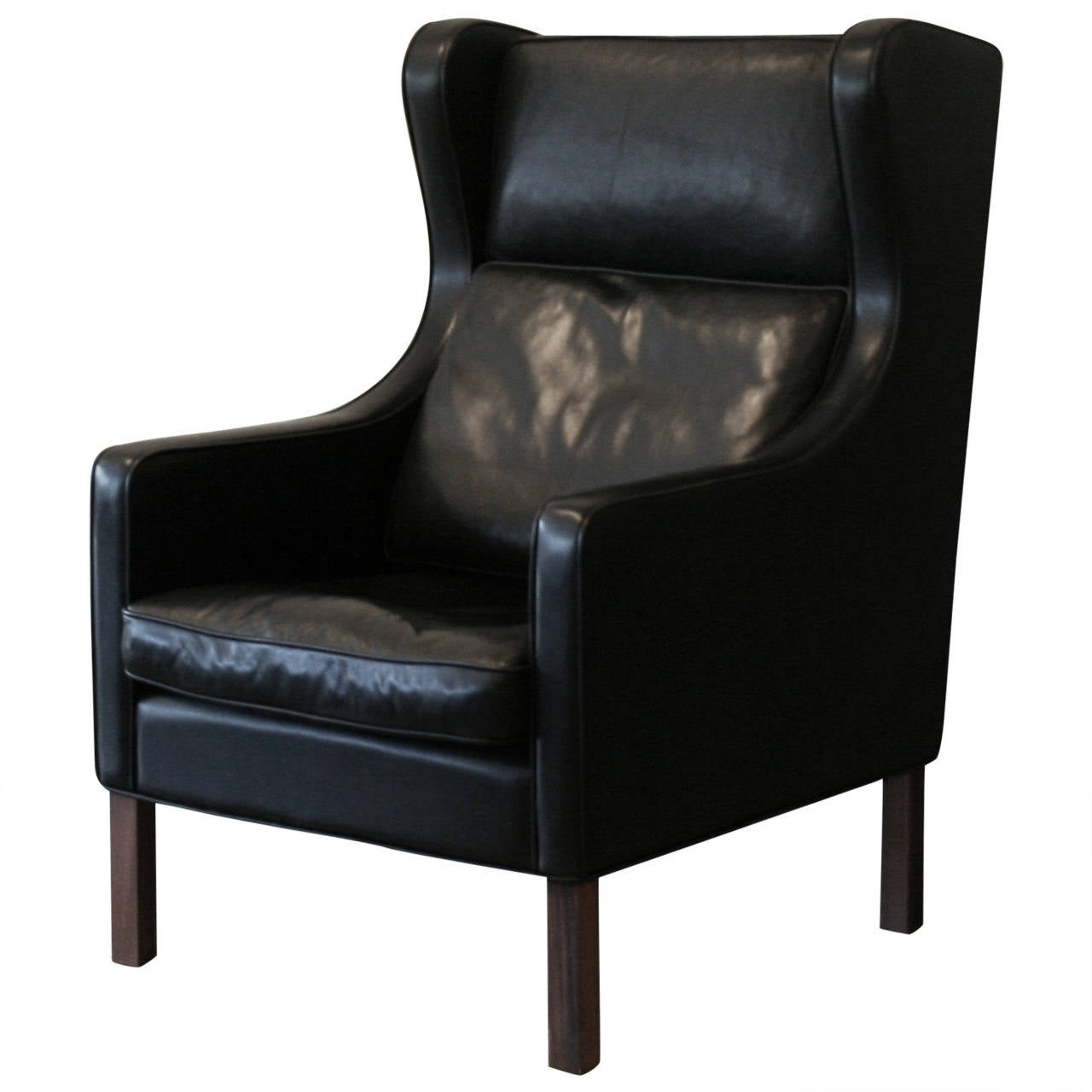 Vintage Danish Black Leather Wingback Chair At 1stdibs