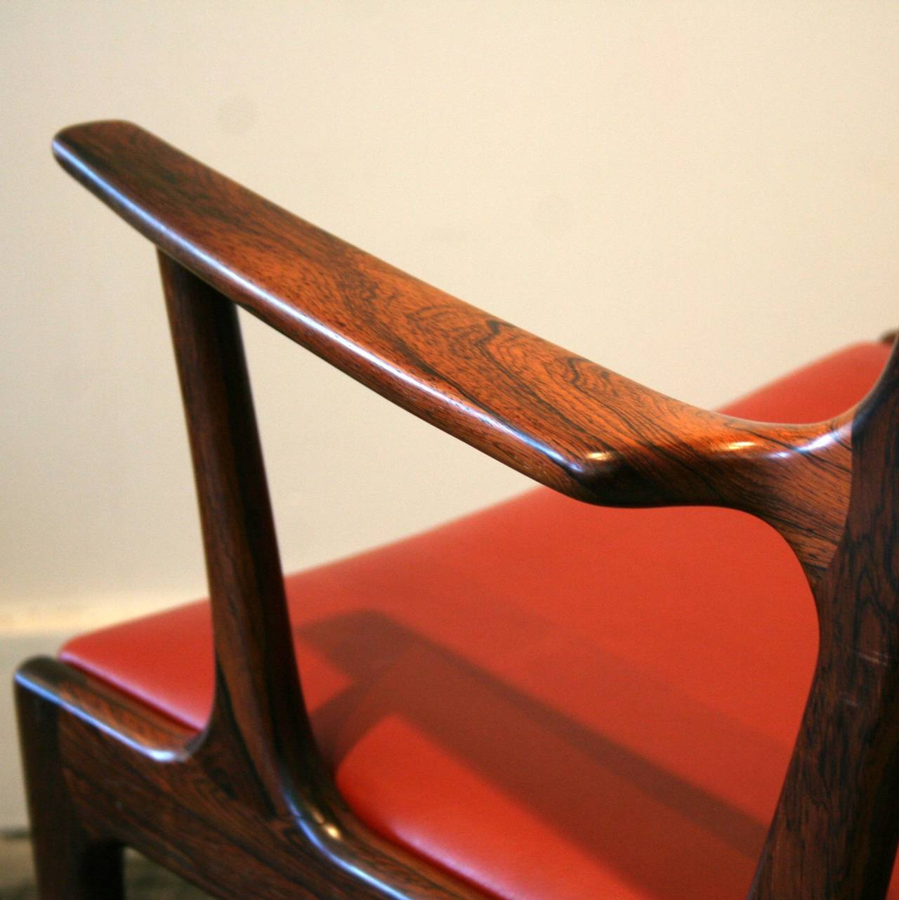 Sculpted rosewood danish dining chairs red modern furniture - Vintage Danish Rosewood Tall Back Accent Chair At 1stdibs