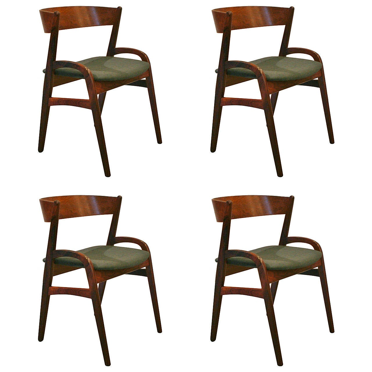 Vintage Danish Rosewood Dining Chairs Set Of Four At 1stdibs