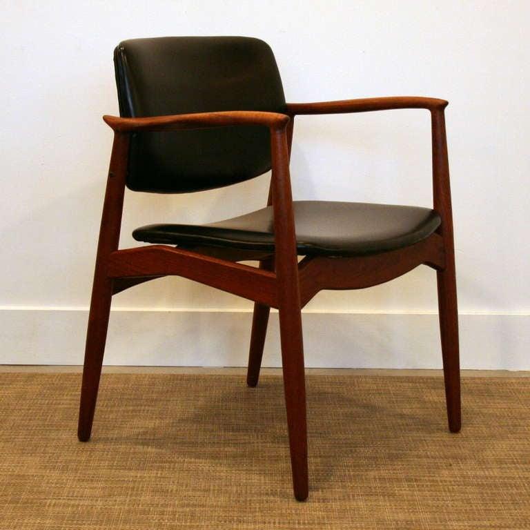 Vintage Teak Captain S Chair By Erik Buck At 1stdibs