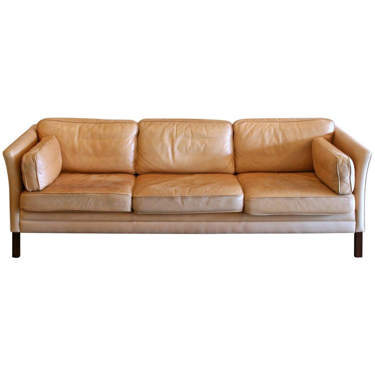 vintage danish leather three seat sofa at 1stdibs