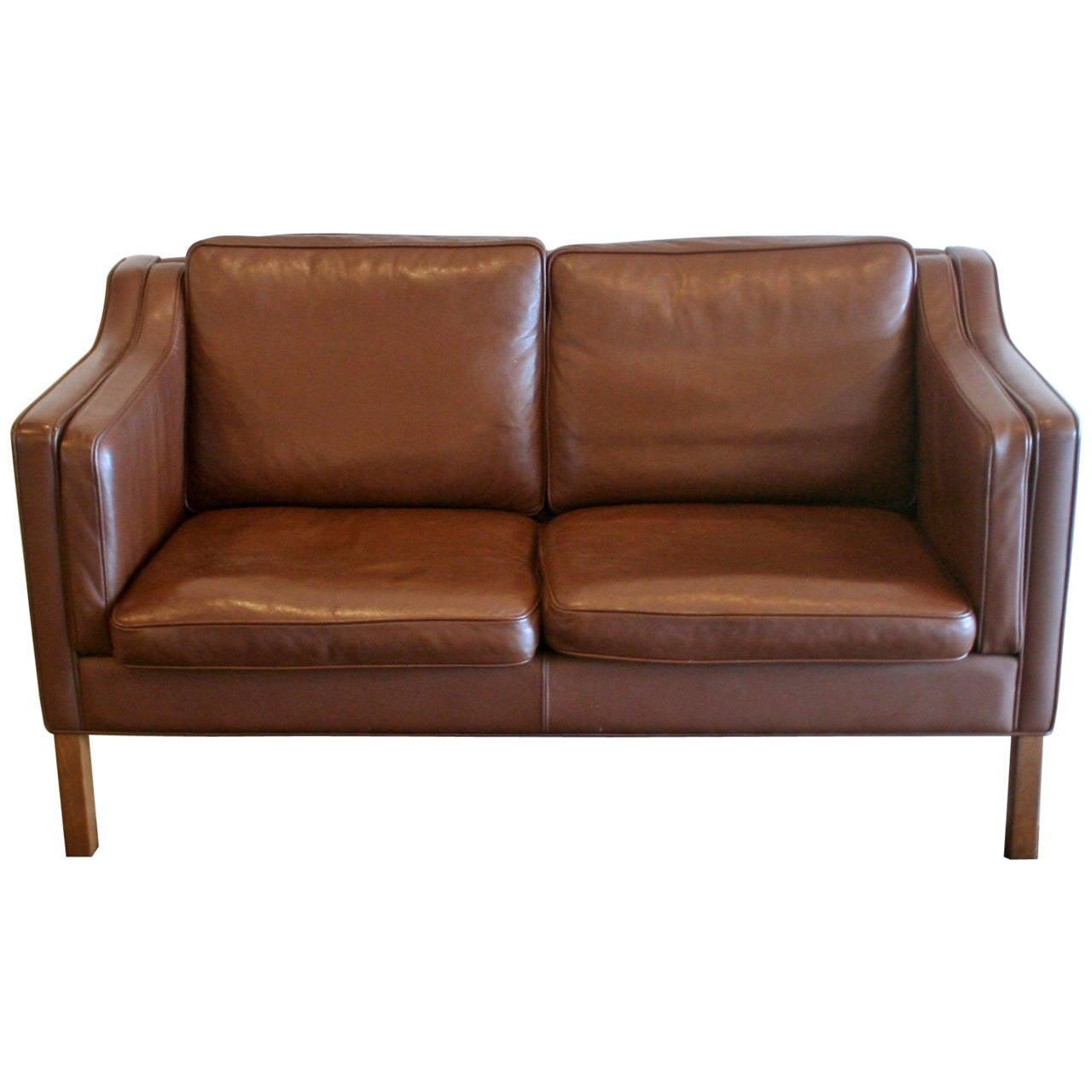vintage danish leather two seat sofa at 1stdibs