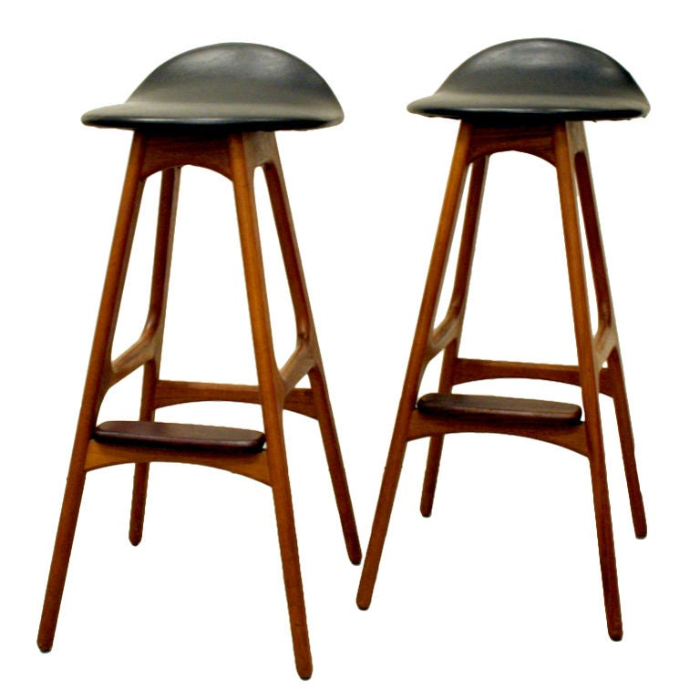 Vintage Teak Bar Stool By Erik Buck At 1stdibs