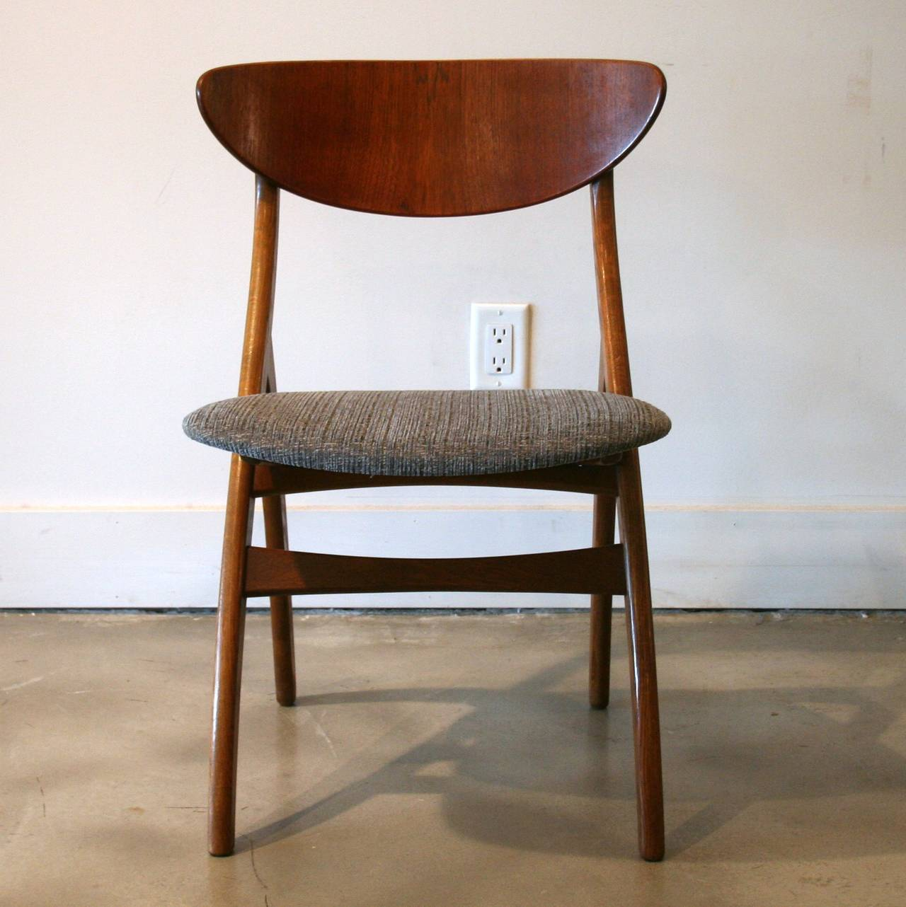 Vintage Danish Oak and Teak Dining Chairs at 1stdibs