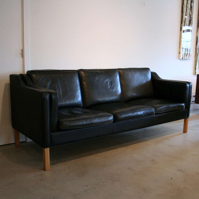 Vintage Black Leather Sofa At 1stdibs