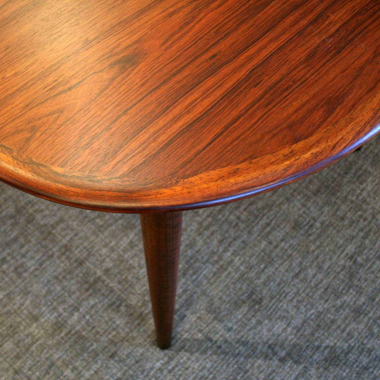 Vintage Danish Rosewood Dining Table With Two Leaves At