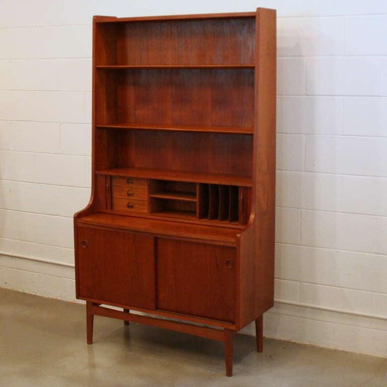 vintage teak secretary desk at 1stdibs. Black Bedroom Furniture Sets. Home Design Ideas