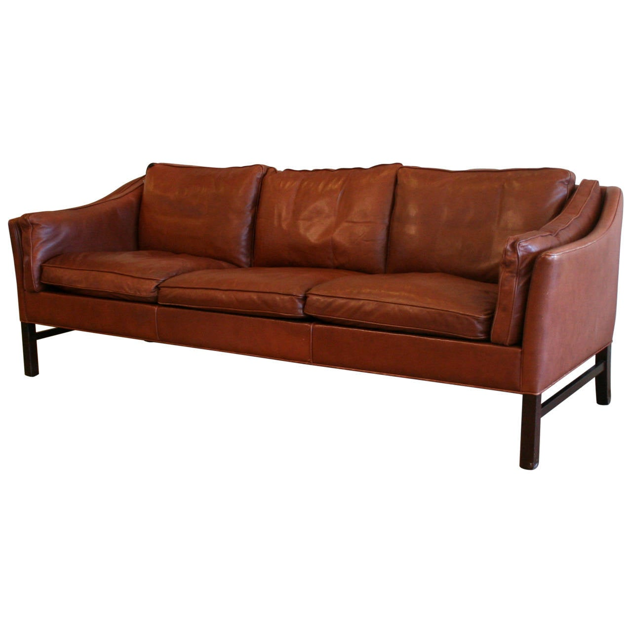 Vintage danish red brown leather sofa at 1stdibs for Red and brown sectional sofa