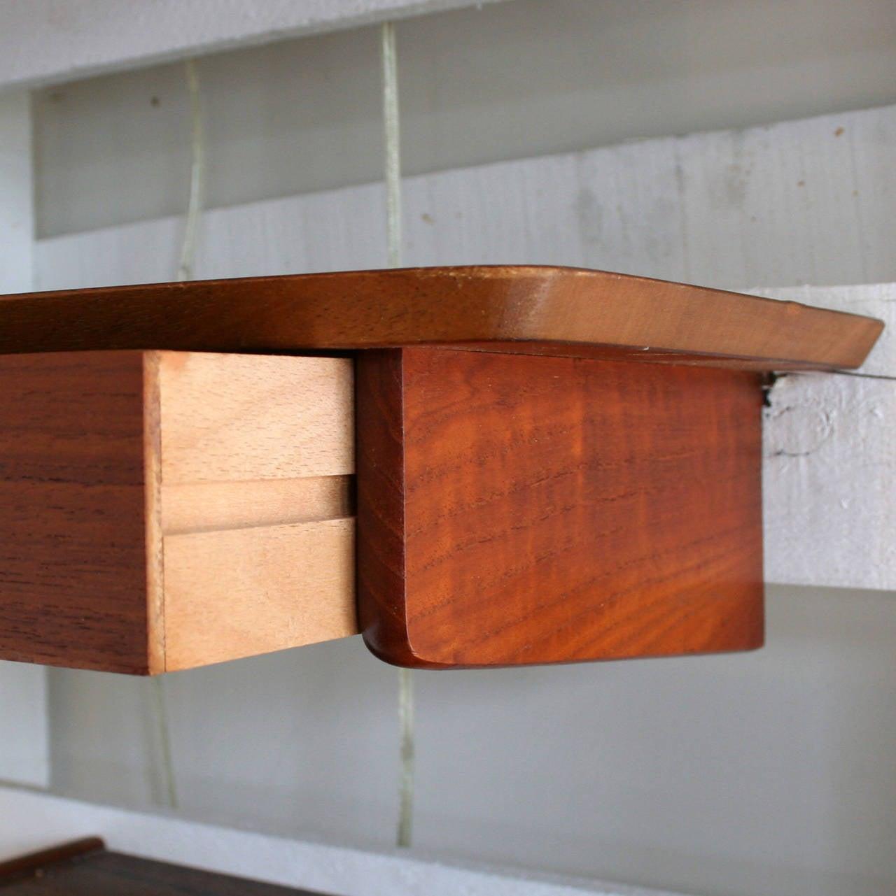 vintage teak wall mount table at 1stdibs. Black Bedroom Furniture Sets. Home Design Ideas