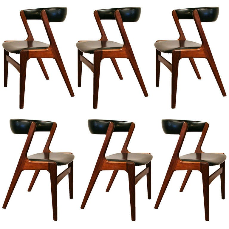 Set of 6 vintage danish teak dining chairs at 1stdibs for Affordable modern furniture vancouver