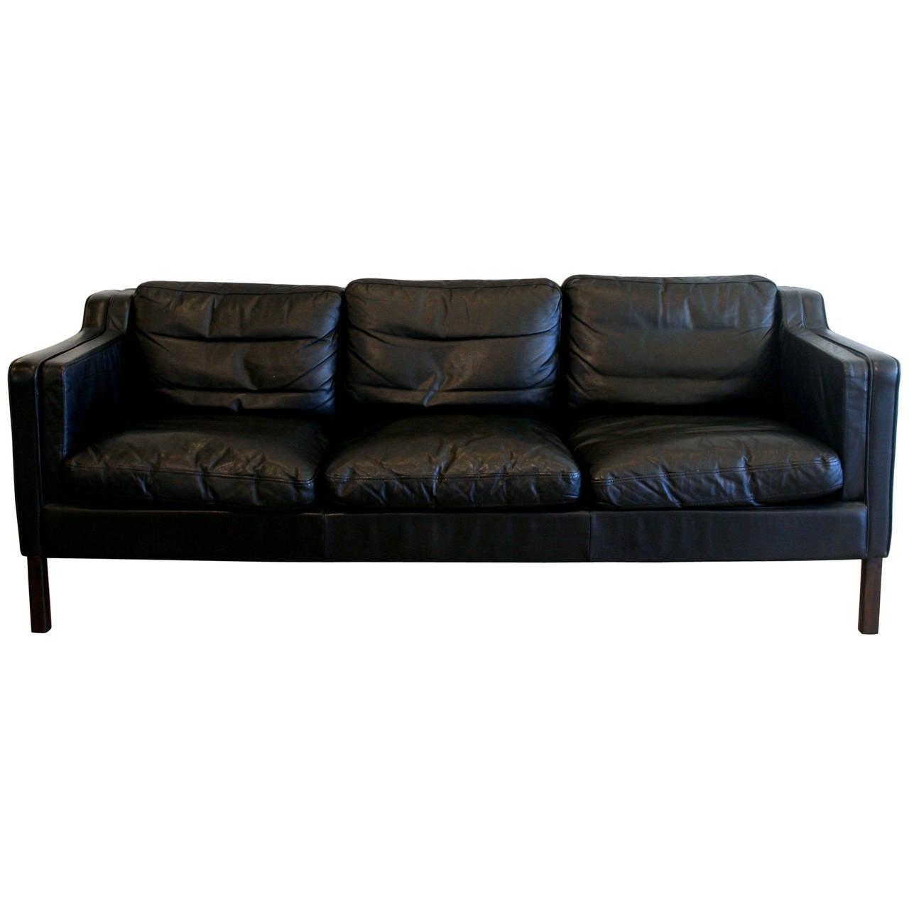 vintage danish black three seat leather sofa at 1stdibs