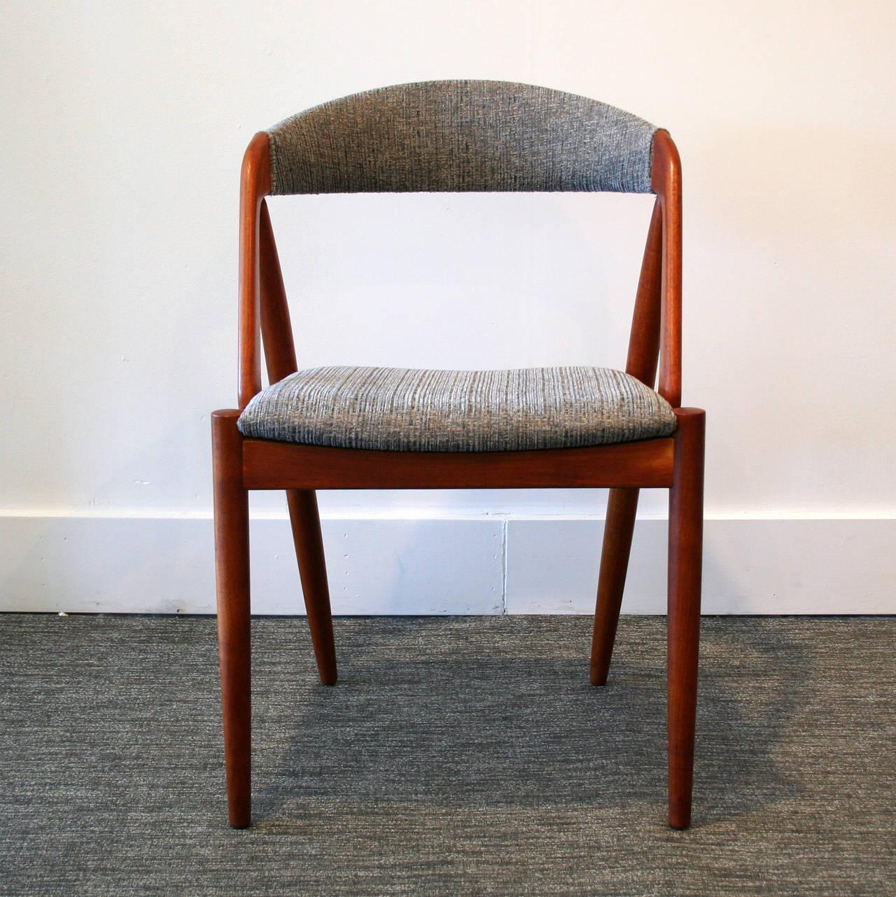 Vintage Danish Teak Round Upholstered Back Dining Chairs