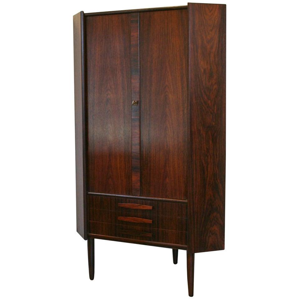 Vintage Corner Cabinet Vintage Danish Rosewood Corner Cabinet At 1stdibs