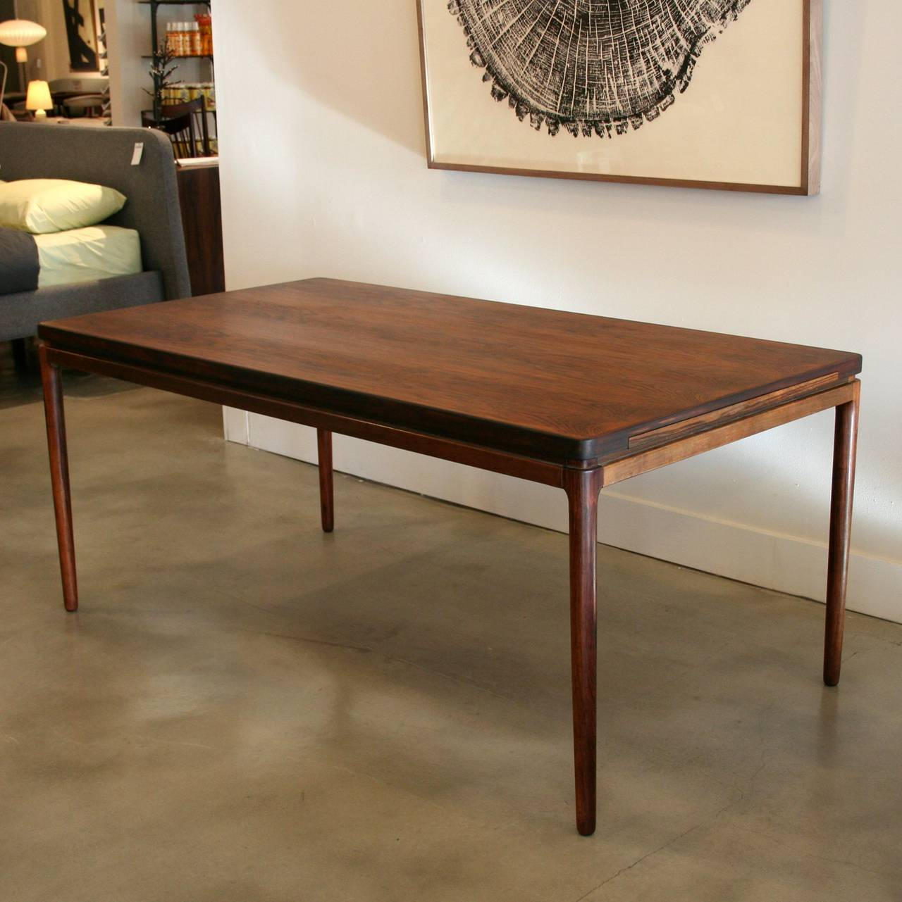 Illinois Modern Two Tone Large Round Dining Table With 8: Vintage Danish Rosewood Dining Table