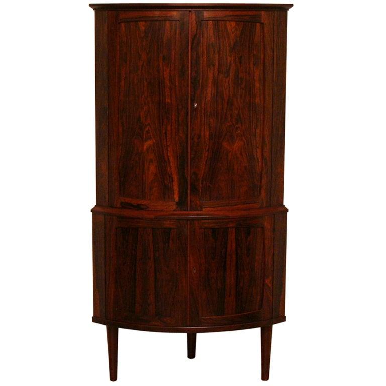 Vintage Rosewood Corner Bar Cabinet
