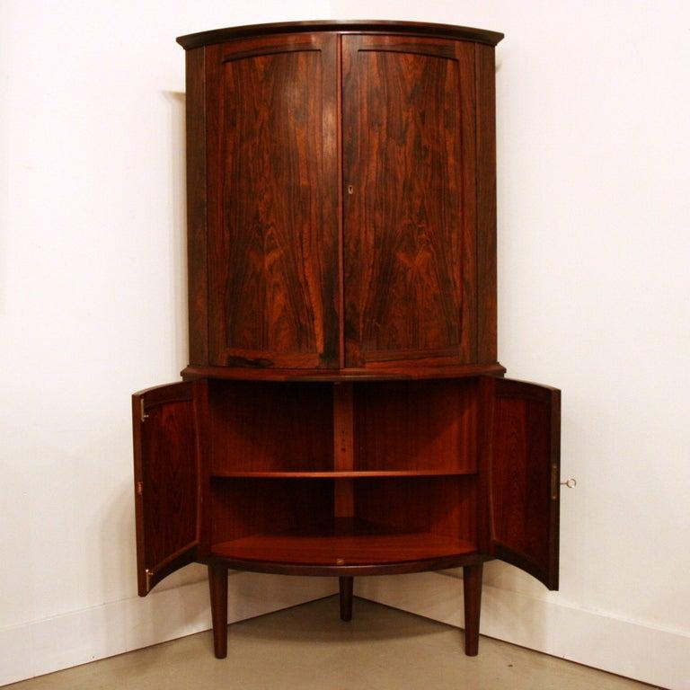 Upper corner cabinets - Vintage Rosewood Corner Bar Cabinet Image 5