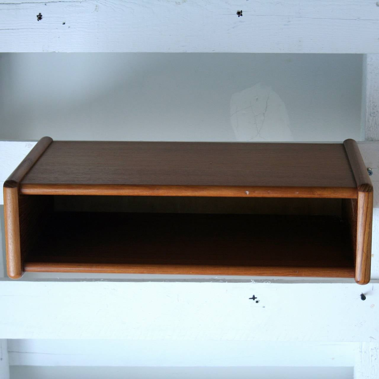 vintage danish teak wall mounted side tables at 1stdibs. Black Bedroom Furniture Sets. Home Design Ideas